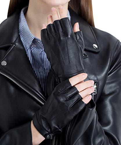 c6ca8863db978 CHULRITA Women s Leather Driving Gloves Sheepskin Fingerless Motorsports  Retro Half Finger Motorcycle Cycling Gloves