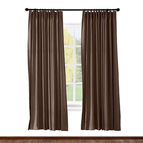 Prim Drapes for Sliding Glass Door - Thermal Insulated Door Blinds, Patio Door Pinch Pleat Curtains, Vertical Blinds for Window, Chocolate, 100x84-inch, 1 Panel