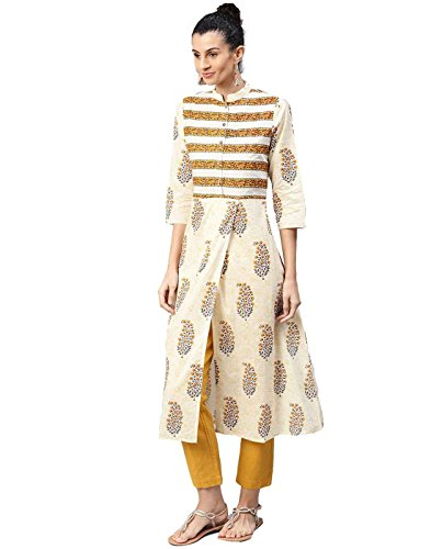 Jaipur Kurti Women Indian Casual Ethnic Motifs Tunic Top A-Line Cotton Kurta (Cream) by Jaipur Kurti