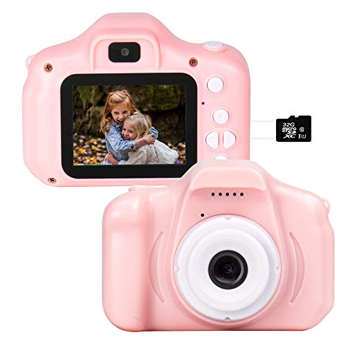 Kids Camera 1080P Dual 12MP Mini 2.0 inch IPS Display Shockproof Child Digital Selfie HD Camera Camcorder Gifts for 3-10 Year Old Girls & Boys, 32GB Memory Card Included (Pink)