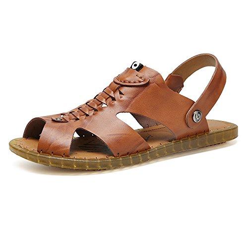de Zapatos Genuino Hombres Cuero Marrón sin Ajustables Transpirables Ocasionales de de Sandalias los Playa Zapatillas Planas Summan de Antideslizantes Suaves Respaldo q0aEBFwW