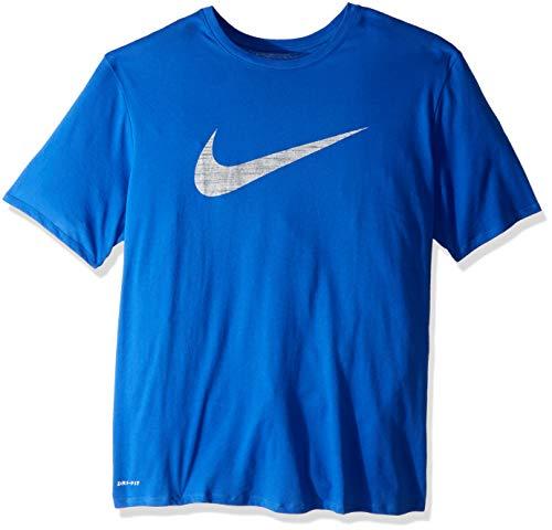 NIKE Men's Dry Swoosh Heather Tee, Game Royal, - Sport Tee Fit Nike Dri