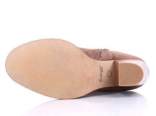 Vrouwen Eenvoudige Enkel Dikke Dikke Cubaanse Hoge Hak Rits Faux Suede Laarzen Schoenen Taupe