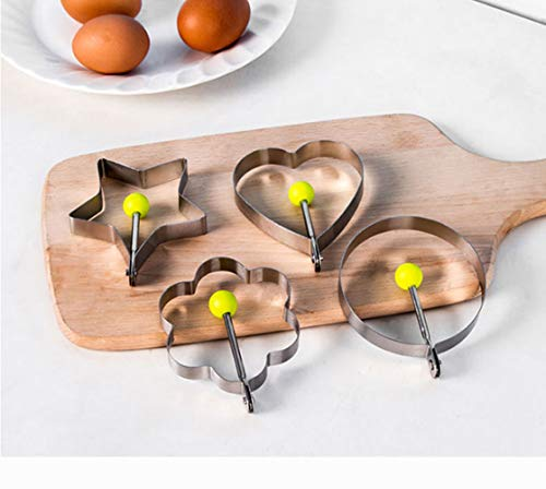 10Pcs Omelette Mold Fried Egg Mold Set in 10 Different Shapes Stainless Steel Fried Egg Ring with 1 Silicone Pastry Brush - Set of 11 by FDIO (Image #6)