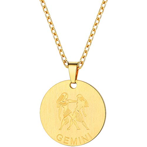 PROSTEEL Gemini Zodiac Star Sign Coin Necklace 18K Gold Layered Layering Constellation Horoscope Pendant Men Women Jewelry Birthday Gift