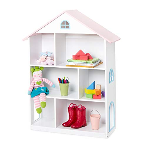 Wildkin Dollhouse Bookcase, Features Sturdy Wood Construction & Adorable Dollhouse Design, Perfect for Organizing Books, Toys, & More - - Bookshelf House Doll