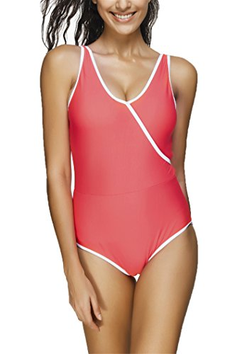 Urban Virgin Women Sexy Vintage One Piece Bikini Elegant Retro Monkini Swimsuit Red Medium (US: 4-6)