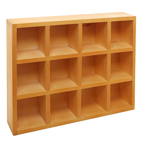 wooden freestanding wall mounted 12 compartment shadow box display shelf new ebay. Black Bedroom Furniture Sets. Home Design Ideas