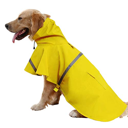 Mikayoo Large Dog Raincoat Ajustable Pet Waterproof Clothes Lightweight Rain Jacket Poncho Hoodies with Strip Reflective(Yellow,L) ()
