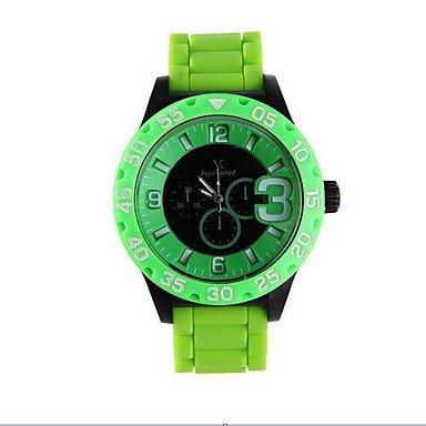 Fashion reloj Digital para hombre de colores Big esfera Circular para relojes de mecanismo de cuarzo correa de silicona (Varios colores), ...