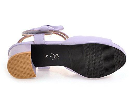 Talon Unie Ouverture Sandales Velcro Femme D'orteil à Violet GMBLB014232 Correct AgooLar Couleur nBqEUwpp