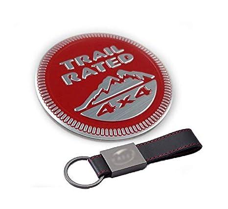 Emblema 3D autoadhesivo Insignia Trail Rated 4x4 para Jeep Wrangler Patriot Grand Cherokee (Rojo) 【+ Llavero de cuero】: Amazon.es: Coche y moto