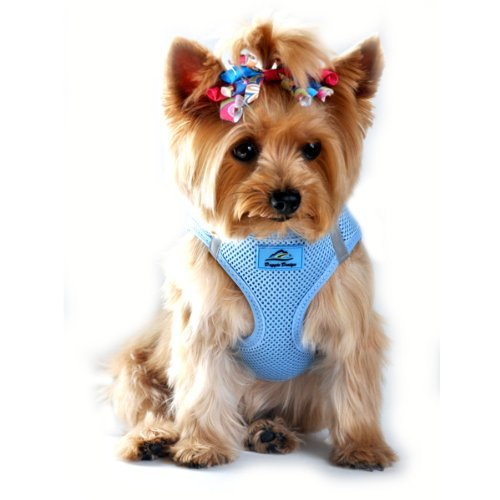 Doggie Design American River Ultra Step In No Choke Trachea Safe Dog Harness Mesh Polyester with Walking Reflective strips - Light Blue ()