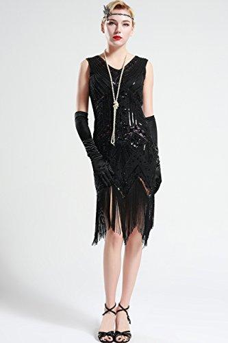 Estilo en ArtiDeco Lentejuelas V Vestido Disfraz Gatsby de Vestido 20 Años con con Vintaje Flecos Cuello 00BFxErq