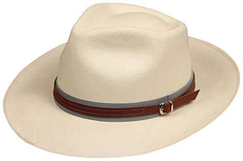 """1"""" Leather Hat Band (Brown On Grey) Replacement Decorative Strap For Fedora, Felt Panama or Straw Hats"""