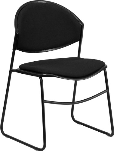 Flash Furniture HERCULES Series 550 lb. Capacity Black Padded Stack Chair with Black Frame For Sale