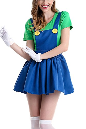 Mario And Luigi Female Costumes (FG Women's Super Mario Skirt Halloween Deluxe Role-playing Cosplay Mario And Luigi Women's Skirt Costume)