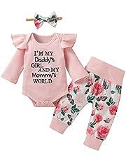 3 قطع الحلو الوليد الرضع طفل الفتيات مضلع رومبير السراويل الطويلة الزهور العصا ملابس مجموعة الملابس (Color : Pink, Size : 6M)