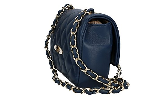 Borsa donna a spalla PIERRE CARDIN blu in pelle MADE IN ITALY VN1526