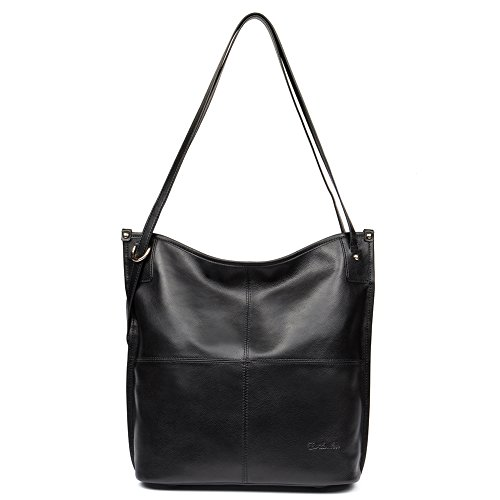 Mother's Day Gifts BOSTANTEN Women Leather Hobo Handbags Tote Purse Top-handle Shoulder Bag on Sale Black by BOSTANTEN