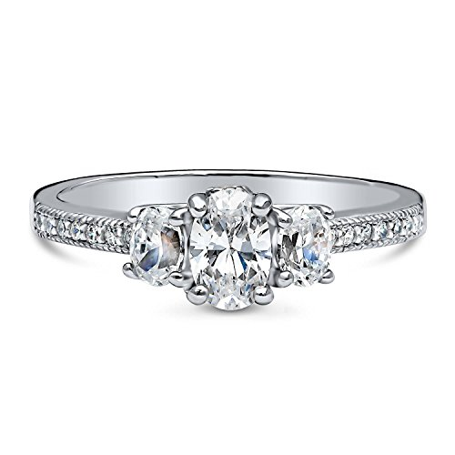 BERRICLE Rhodium Plated Sterling Silver Cubic Zirconia CZ 3-Stone Promise Engagement Ring Size 5 by BERRICLE (Image #1)