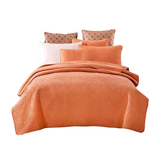 (Tache Solid Rustic Stone Washed Cotton Mandala Matelassé Pastel Light Orange Fall Harvest Bohemian Quilt Bedspread 3 Piece Set, California King)