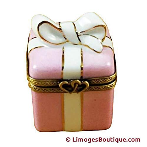 Authentic Pink Ribbon - PINK GIFT WRAPPED BOX W/GOLD RIBBON - LIMOGES BOX AUTHENTIC PORCELAIN FIGURINE FROM FRANCE