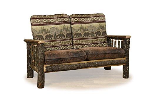 Furniture Barn USA Rustic Hickory Living Room Love Seat - Colorado Fabric - Amish Made