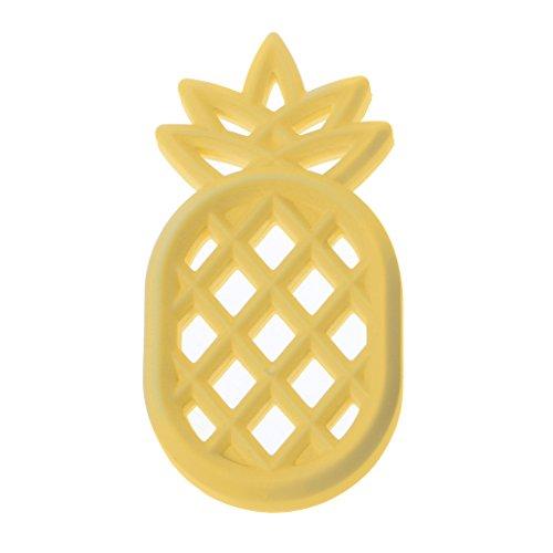 Rockrok Infants Pineapple Teether - Baby BPA Free Silicone DIY Necklace Chew Toys Stylish & Safe,Newborn Care (Dark Yellow)