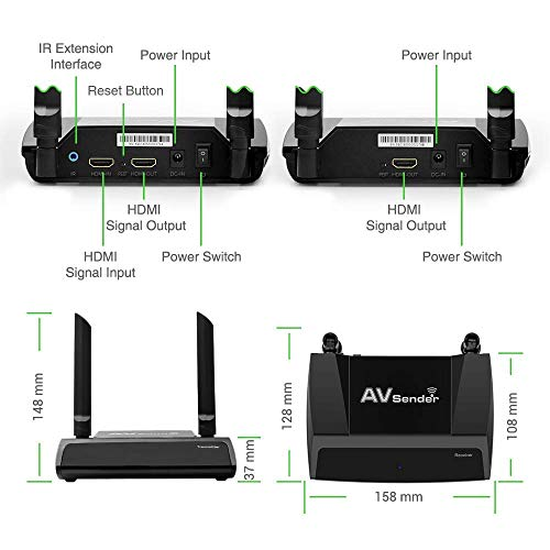 Wireless HDMI Extender with Loop-out IR Pass-back Support 1080P@60Hz Full HD Can Transmit Up to 150m 492ft (Line of Sight), Wifi HD AV Transmitter and Receiver for Projector Church Monitor Home Use by PAKITE (Image #8)