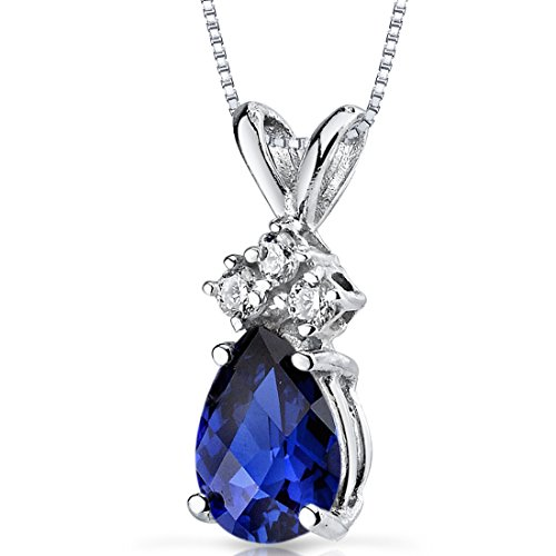 14 Karat White Gold Pear Shape 1.00 Carats Created Blue Sapphire Diamond Pendant Blue Sapphire Platinum Necklace