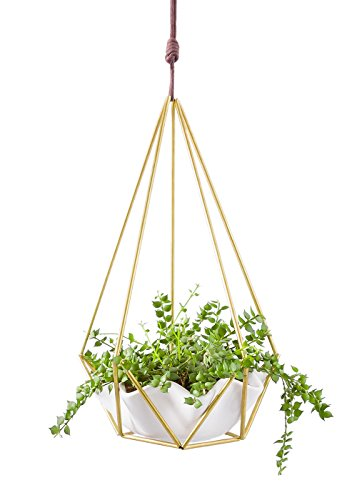 Mkono Hanging Planter Vase Succulent Pot Geometric Himmeli Plant Container Wall Decor, White Ceramic/Brass