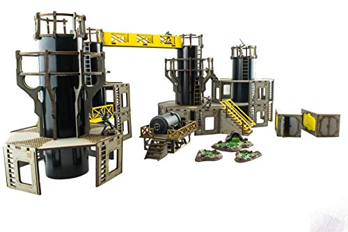 War World Gaming Industry of War Pre-Painted Large Refinery Complex – 28mm  Sci-Fi Wargaming Terrain Model Diorama