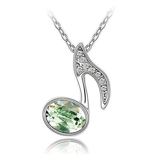Gift for Girls White Gold Plated Music Note with Oval Shaped Green Swarovski Elements Crystal Pendant Necklace Fashion Jewelry for Women (Green) - Gold Plated Music Fashion Jewelry