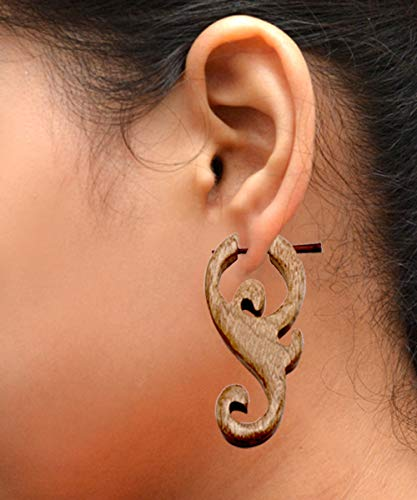 (A Pair of Brown Coco Wooden Boho Hippie Earrings Aisew_1011)