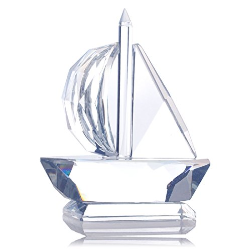 H&D Crystal Sailing Boat Base Figurine Collection Cut Glass Ornament Statue