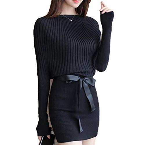 Women Charm Slim Sheath Package Hip Knit Sweater Dress Long Sleeve Bodycon