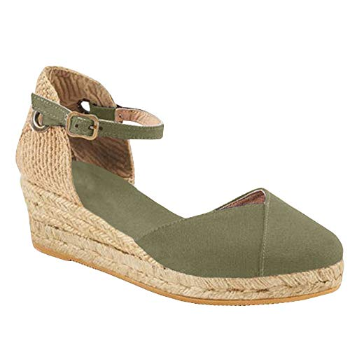 Womens Espadrille Platform Sandals Closed Toe Ankle Straps with Slingback Wedge Sandals (10 M (US)-41M(EU), Green)