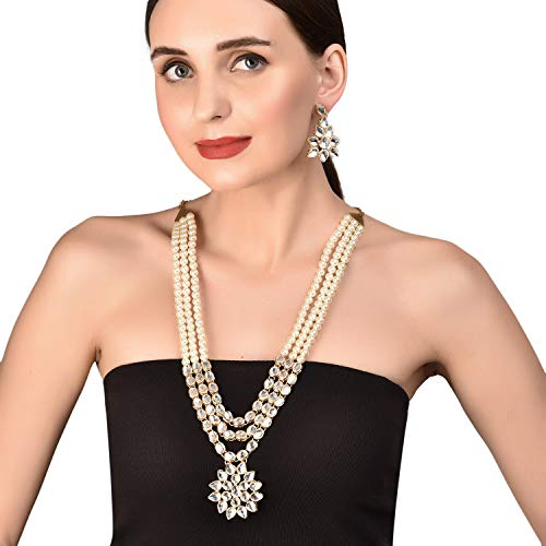 Set Designer Pearl - Touchstone New Contemporary Kundan Collection Indian Bollywood Majestic Indian Mughal Kundan Look Triple Line Faux Pearls Strands Long Designer Jewelry Wedding Necklace Set in Antique Gold Tone for