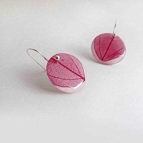 Pendientes Hoja Violeta Gancho. Hecho a mano en España con hojas de Laurel: Amazon.es: Handmade