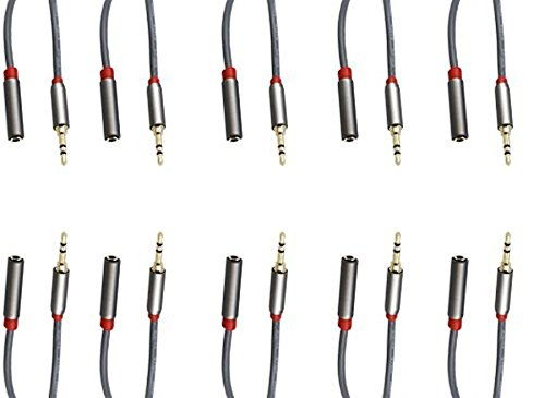 C&E 10 Pack, 3.5mm Stereo Male to Female Extension Cable, 3 Feet, CNE502736 Stereo Pack