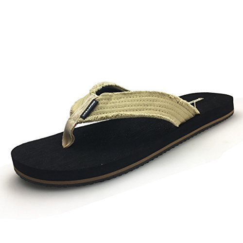 URBANFIND Men's Flip Flops Canvas Thong Sandals Flat Slide On Slippers Black, 12 D(M) - Thongs Canvas