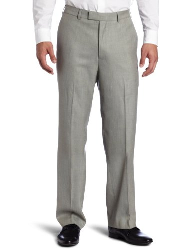 Savane Men's Sharkskin Flat Front Dress Pant, Light Gray, (Sharkskin Dress)