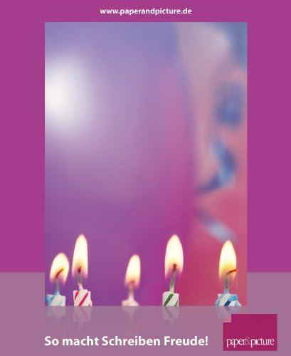 90g//qm Geburtstag und Gl/ückw/ünsche Motivpapier Happy Birthday 20 Blatt Briefpapier DIN A4