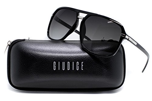 Giudice Black Frame Aviator Sunglasses for Men & Women UV400 (Non Polarized) Classic Style ()