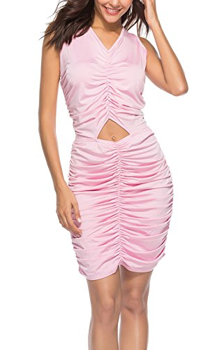 Dalla Matita Smanicato Slim Pink Ragazza V Pacchetto Da Abbigliamento Party Vestiti Del Vestito Promenade Abiti Elegante Corto Hollow Fashion Unico Donna Sera Cerimonia Collo Dell'anca qSMUpzV