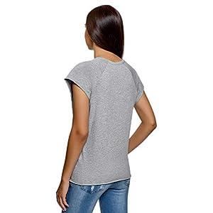 oodji Ultra Donna T-Shirt in Cotone con Stampa e Ricamo con Orlo Grezzo
