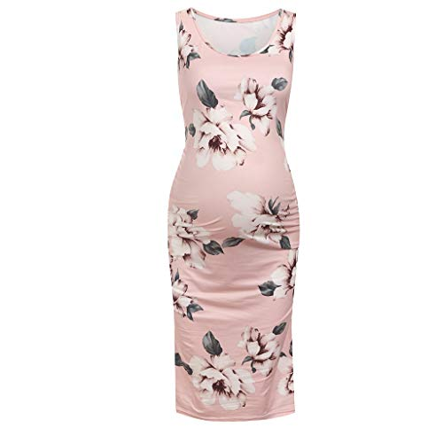 Maternity Nursing Dress, Women Sleeveless Pregnant Maternity Dress Flower Maternity  Long Maternity Dress Pink
