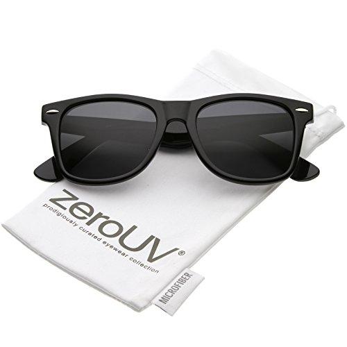 zeroUV - Classic Neutral Color Polarized Horn Rimmed Sunglasses 52mm (Black / - Sunglasses Wayfarer Cheap Black