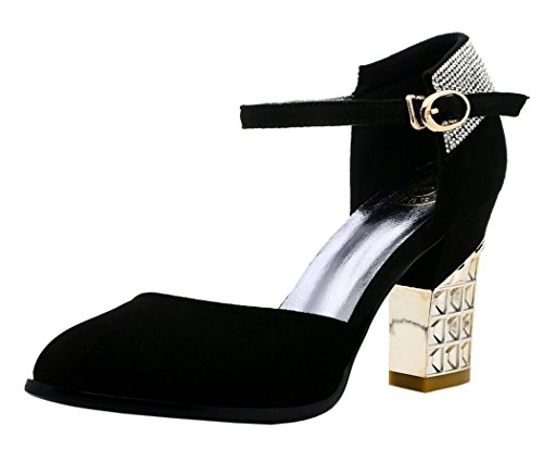 Passionow Christmas New Style Elegant Metal Diamonds Decoration Chunky Rough Heeled Sandals(7 B(M)US, Black)